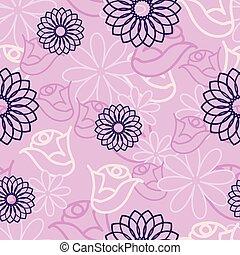 flor cor-de-rosa, padrão, seamless, experiência., escondido