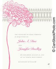 flor cor-de-rosa, quadro, vetorial, fundo, casório