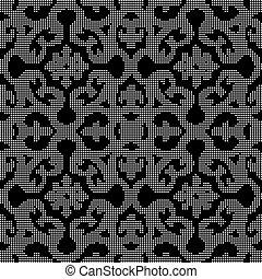 flor, curva, seamless, espiral, experiência preta, halftone, redondo