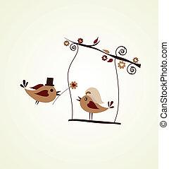 flor, dar, noivo, card;, casório, pássaro