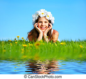 flor, diadema, mulher