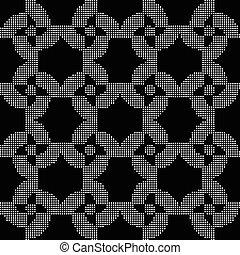 flor, espiral, seamless, halftone, experiência preta, redondo