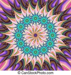 flor, estrela, coloridos, abstratos, fundo, fractal