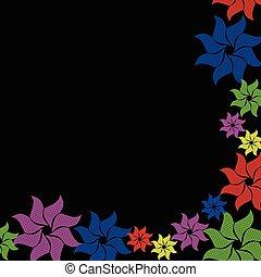 flor, experiência preta, coloridos, estouro