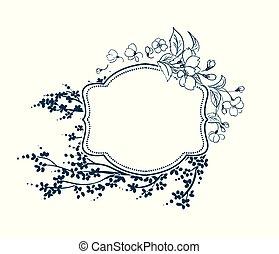 flor, flor, quadro, vitoriano, vetorial, sakura, fundo