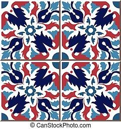 flor, folha, coloridos, padrão, azulejo cerâmico, redondo, caleidoscópio