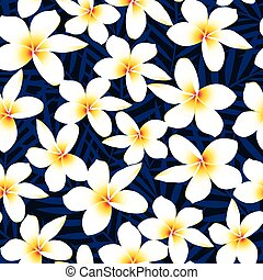 flor, frangipani, seamless, tropicais, plumeria, padrão, branca