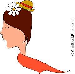 flor, ilustração, experiência., vetorial, cabelo, menina, branca