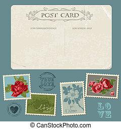 flor, parabéns, cartão postal, vindima, -, convite, selos, vetorial