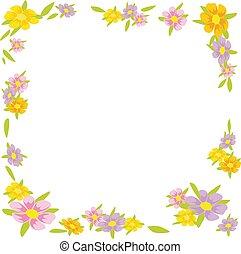flor, quadro, -, ilustração, vetorial, fundo