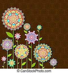 flor, retro, coloridos