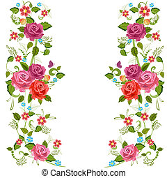 flor, rosas, borda, foliate