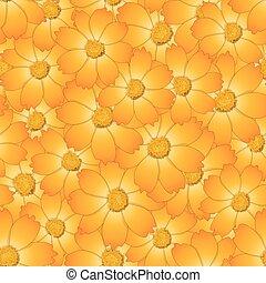 flor, seamless, fundo amarelo, laranja, cosmos