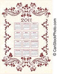 floral, 2011, quadro, calendário, vindima