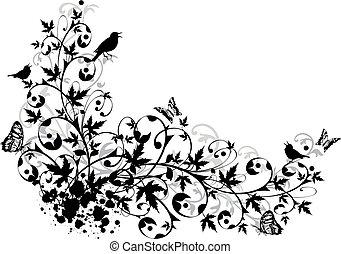 floral, abstratos, borda