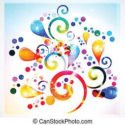 floral, abstratos, coloridos