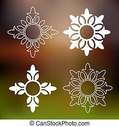 floral, abstratos, elementos, desenho