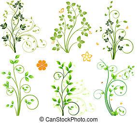 floral, abstratos, elementos, jogo