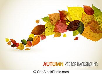 floral, abstratos, fundo, outono