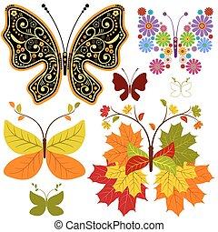 floral, abstratos, jogo, borboletas