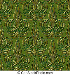 floral, abstratos, verde, seamless, fundo