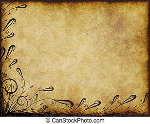 floral, antigas, pergaminho