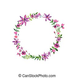 floral, aquarela, elelements, vetorial