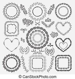 floral, bordas, hand-drawn