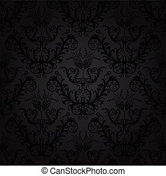 floral, carvão, papel parede, luxo