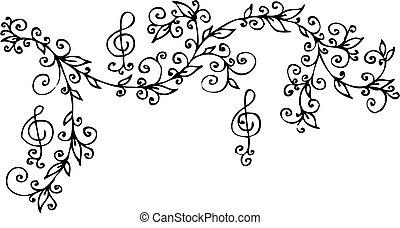 floral, ccci, musical, vignette