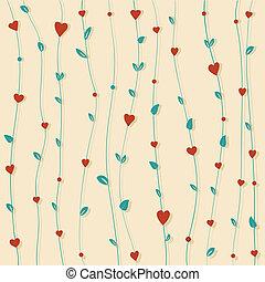 floral, corações, abstratos, flores, fundo