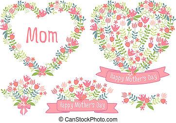 floral, corações, dia, feliz, mães