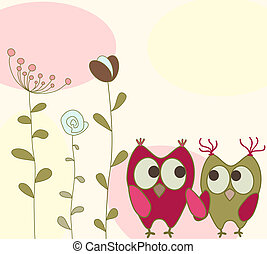 floral, corujas, cartão cumprimento