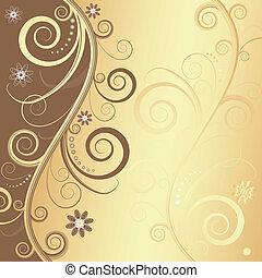 floral, decorativo, abstratos, quadro, (vector)