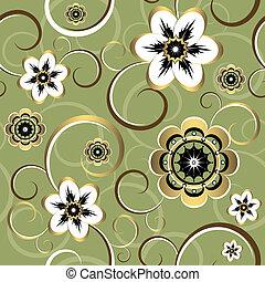 floral, decorativo, seamless, (vector), padrão