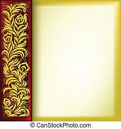 floral, dourado, abstratos, ornamento, fundo