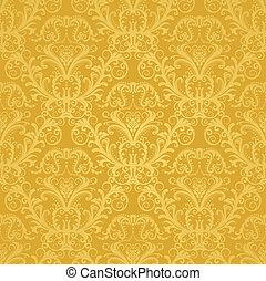 floral, dourado, papel parede, luxo