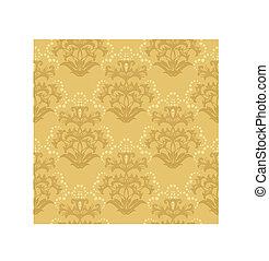 floral, dourado, papel parede, seamless