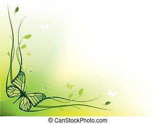 floral, elegante, borda