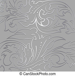 floral, experiência., papel parede, prata, vetorial