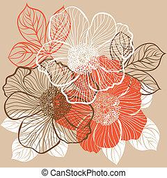 floral, flores, fundo, peony