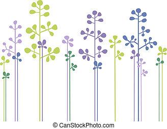 floral, floresta, vetorial, desenho