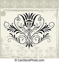 floral, grunge, ornamento, fundo