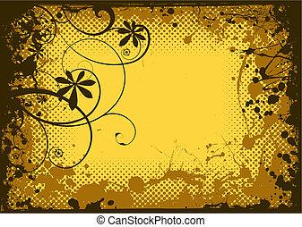 floral, grunge, tinta