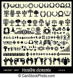 floral, heraldic, elementos, cobrança