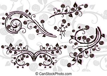 floral, jogo, elementos, design.