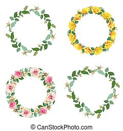 floral, jogo, quadro, redondo, borders., rose.