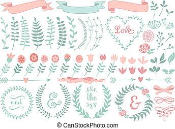 floral, laurel, jogo, grinalda, vetorial