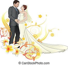 floral, noivinhos, fundo, dançar