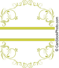 floral, ornamental, quadro, verde
